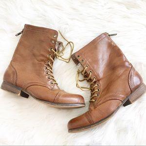 Madden Girl Brown Tan Lace Up Combat Boots Gavinn